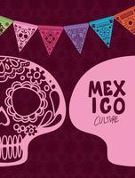 Mexican skull with colorful pennant vector