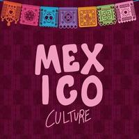 cultura de méxico con colorido diseño de vector de banderín