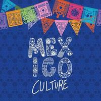 Mexico culture with colorful pennant vector