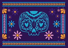 Mexican skull with colorful frame vector