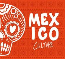 Mexico culture lettering with skull vector design