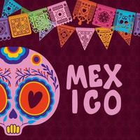 Mexican skull with colorful pennant on purple background vector design