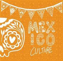 Calavera mexicana con banderín sobre fondo naranja diseño vectorial vector