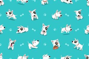 vector, caricatura, carácter, bull terrier, perro, seamless, patrón
