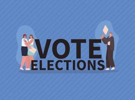 Women and man with vote banners for elections day vector
