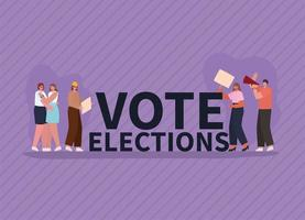 Women and man with vote banners and megaphone for elections day vector
