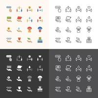 Vector flat icons set of business finance technology outline concept.