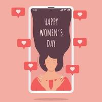 woman on mobile phone with love sign, happy womens day vector