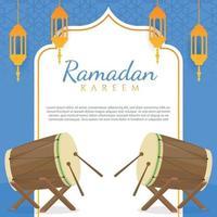 flat design greeting ramadan kareem vector