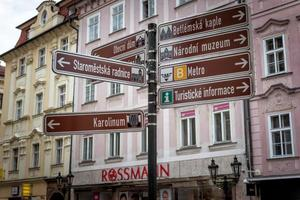 Prague, Czech Republic 2017--Tourist signpost showing directions to popular attractions