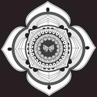 Circular Pattern In Form Of Mandala, Decorative Ornament In Oriental Style, Ornamental Mandala Design With  Butterfly in the Center Free Vector