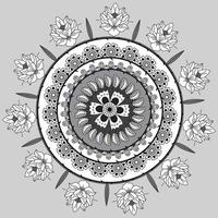 Circular Floral Pattern In Form Of Mandala, Decorative Ornament In Oriental Style, Ornamental Mandala Design Background With Flowers and Vines Free Vector