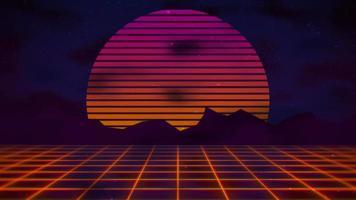 movimento sfondo astratto retrò, griglia rossa e montagna video