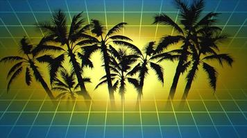Motion retro summer abstract background, palm trees in frame video