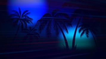 beweging retro zomer abstracte achtergrond, palmbomen in de nacht video