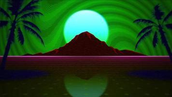 mouvement rétro abstrait, grille rouge et montagne