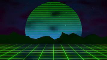 movimento sfondo astratto retrò, griglia verde e montagna video