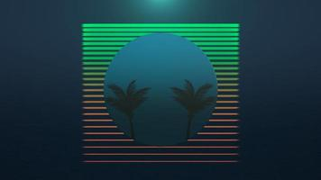 Movimiento de fondo abstracto de verano retro, palmeras en el marco