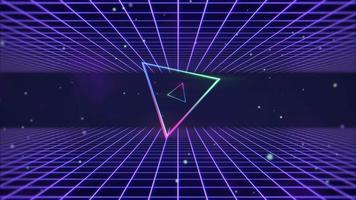 Triangle coloré rétro de mouvement et fond abstrait de lignes bleues video
