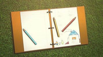 close up de fundo de crianças com caderno e lápis, fundo de escola