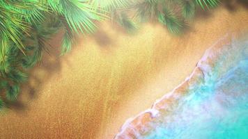 Primer plano de una playa de arena con olas azules del océano, fondo de verano