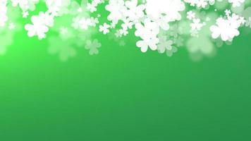 animação fundo de feriado do dia de São Patrício com trevos brancos de movimento