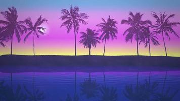 panoramautsikt över tropiskt landskap med palmer och solnedgång, sommar
