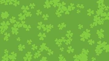 trèfles verts de mouvement, fond d'animation de jour de saint patrick
