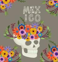 skull with flowers and Mexico lettering vector