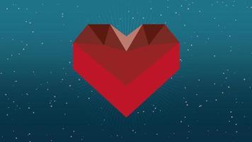 geanimeerde close-up romantische zeshoek rood hart en glitters in melkweg op Valentijnsdag achtergrond video