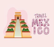 Viajar a México letras con diseño de vector de pirámide