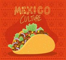 Mexico culture lettering with taco vector design