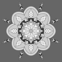 patrón floral circular en forma de mandala, adorno decorativo en estilo oriental vector