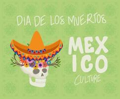 skull with flowers for Dia de los muertos celebration vector