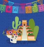 Mexican skull, pyramid, cactus and pennant vector