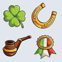 Hand drawn Set of elements for St. Patrick's day collection, detailed with shadows and lights vector