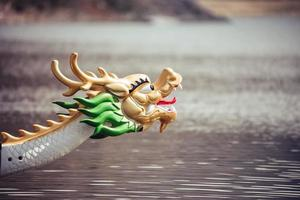 Close up head of dragon boat on the water
