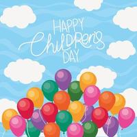 Happy childrens day with balloons and clouds vector design