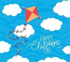 feliz día del niño con diseño de vector de cometa y nubes