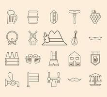 conjunto de iconos de estilo de línea oktoberfest vector