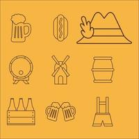 Oktoberfest line style icon set vector