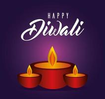 Happy diwali candles on purple background vector design