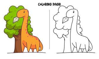 brontosaurio consigue una cometa atascada en el árbol para colorear página vector