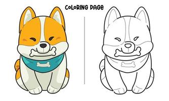 Puppy Biting A Bone Coloring Page vector