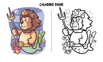 leon, sirena, en, el, mar, colorido, página vector