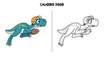 Blue Dinosaur Playing Football Coloring Page vector