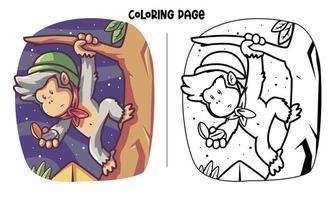 mono, escalada, con, brújula, colorido, página vector