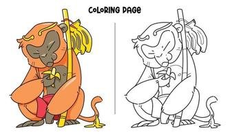 King Monkey Eats Banana Coloring Page vector