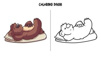 Chillin Koala On Bed Coloring Page vector