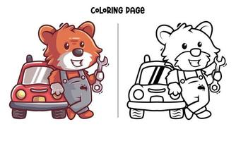 Fox The Mechanic Coloring Page vector